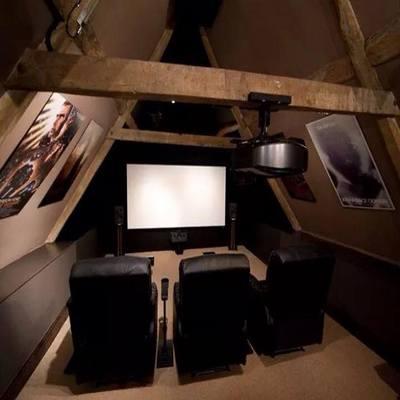 Loft used as media room