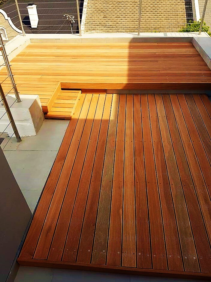Timber decking on balcony