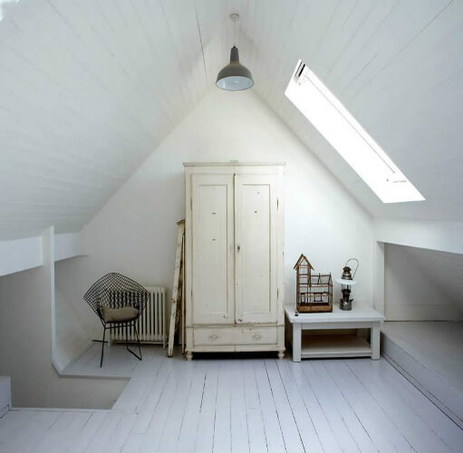 Converted attic in white